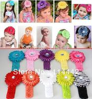 "Mix 12set Gerbera Daisy Flower Clips +1.5"" Elastic Stretch Crochet Headband Toddler Infant Headbands Baby Hair Jewelry Headwear"