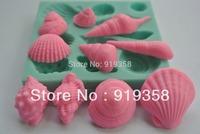 New style large wholesale hot sale 10-Hole Sea Shell Shape chocolate silicon mold fondant Cake decoration mold (WX-084)