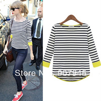 Free shipping fresh fashion asymmetrical hem long sleeve stripe printed loose o-neck t-shirt womens T-shirts D068