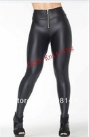 2014 New KD-427 Women's Faux Leather Leggings Fashion Zip Decorate Patchwork Legging High-Waist Black Skinny Trousers