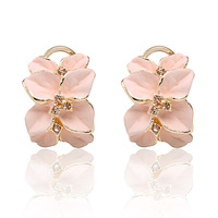 Free shipping Retail Colored glaze Rose petals Earrings with White Black Pink