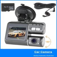 HD 720P Dual Cameras Lens Dashboard Car DVR Video Recorder Blackbox With G Sensor Motion Detection 4GB TF Memory