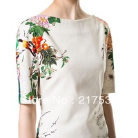 Fashion New Arrival Lady's Vintage Floral Bird Printed O-neck Half Sleeve Slim White Beauty Dress Pretty Summer Wear  dp652634