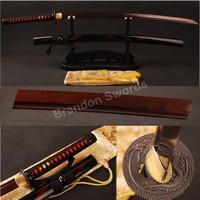 Japanese Katana Damascus Folded Steel Practical Samurai Sword Red Blade * ESB101