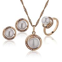 2014 Brand Costume Pearl Jewellery 18K Gold Plated Bridal Jewelry Sets Pendant Necklace Earrings Rings Wedding Jewelry 14S18K-72