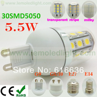 20pcs/lot 5.5W Dimmable G9 30SMD LED Corn Lamp Bulb,Dimmable G9 Led Replace 50W Lamp G9,G9 GU10 E14 E27 Socket Chioce