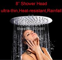 a Stainless steel Shower head Ultra thin 8 inch round rainfall showerhead high pressure chuveiro free shipping