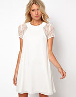 New Summer 2014 White Chiffon Dress Women Clothing Elegant Lace Sleeve Patchwork Casual Mini Dress Button Dresses Double Layer