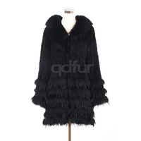 2014  Genuine Real Knitted Mink Fur Coat Jacket with Raccoon Fur Collar and Hem Winter Women Fur Outerwear Coats QD30411