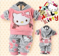 2013 the spring and autumn and the two sides with cat wear 0 to 3 years old girls baby 2piece suit free shipping