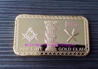 (lucya0042) Newest Coming! Free Shipping 1 OZ Masonic Gold Bullion Bars 5Pcs Good Quality Metal Coin