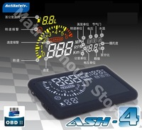 Actisafty  Car HUD Head Up Display Speed, Engine Speed, Water Temp, Fuel Consumption, Throttle Angle, OBD2, OBDII/ASH-4/3 Colors