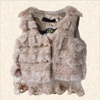Wholesale 5pcs/lot 2013 fashion kids girl faux fur vest lace spliced V-neck children winter waistcoat sleeveless outerwear