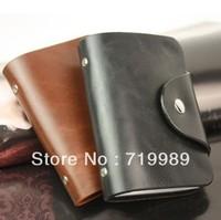 Free Shipping Credit-card Bag/nylon bag Men leather buckle holder/credit-card bag/business card package 24 set Wholesale