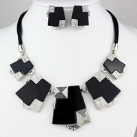 2014 fashion jewelry set Black necklaces earrings sets for women&girl,Western exaggerated necklaces FREE SHIPPING
