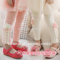 1pcs Free Shipping Children clothing,100% cotton+lycra girl's 2013 Nwe Autumn Kids flower lace Leggings Kids/child pants Cheap
