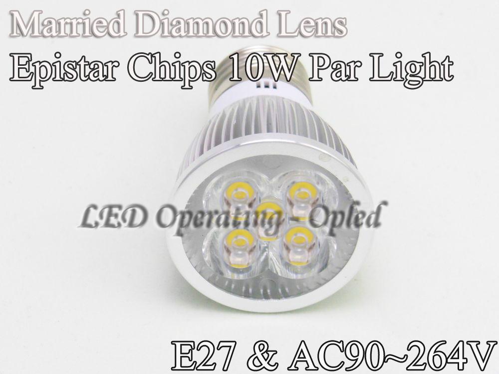 Free shipping Wholesales price led spot light - E27 par bulb lamp 10w Warm White/Cool White/Pure White CE&ROHS(China (Mainland))