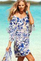 Focus beach skirt new - blue and white collar style blending beach dress 40450 + Fast Free shipping