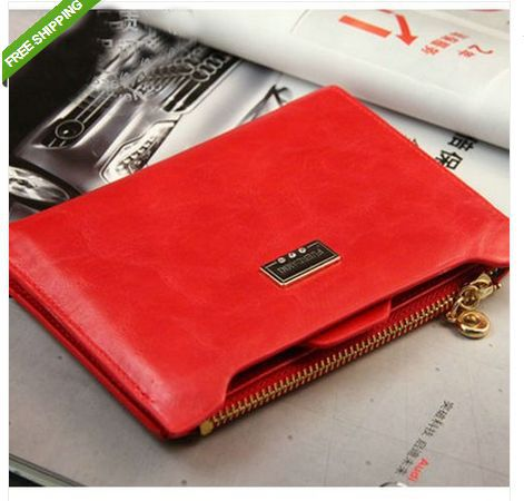 Women's Fashion High quality Wallet leather bifold With Casual Zipper wallet Solid credit cards holder slim purse(China (Mainland))