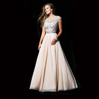 Champagne Tulle Satin Heavy Beading Cap Sleeve Short Sleeve Evening Dress 2014