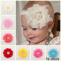 Chiffon Bows Baby Headbands Solid Color Children Girl Hair Bows Elastic Infant Kids Hair Bands 10pcs  Free Shipping TS-14103