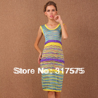 Free shipping wholesale 2014 new arrival stylish Bohemian style ruffles sleeveless yellow blue stripes missoni dresses for women