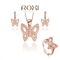 Fashion jewelry sets 18k gold plated 08080051908 necklace+earrings+ring made with AAA zircon, lover's gift
