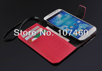 Cross Grain Wallet stand leather case for samsung galaxy S4 card holder flip cover for samsung i9500 free sccreen as gift