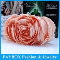 Fashion women Celebrity Vintage Satin rose flower long chain lady Party Wedding clutch Evening bridal bag