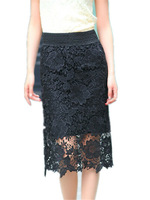 Free Shipping 2014 Autumn Spring Women high waist  over-the-knee long Lace skirts plus size, Cutout Fashion Skirt S-5XL Size