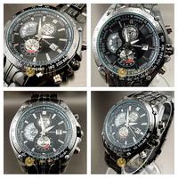 Free Shipping JARAGAR Classic Multifunction Tourbillon Black dial Automatic Mechanical Watch