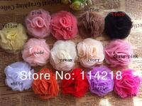 "2"" Mesh Flowers Mini Mesh Flower Head Flat Back Flower Hair Accessories 100PCS/LOT BY AngelBaby"
