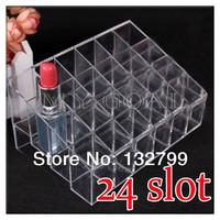 Acrylic Cosmetic Organizer 24 Makeup Lipstick Stand Holder Case Storage Display Rack