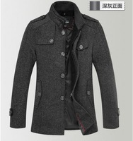Free Shipping 2013 Spring Autumn winter clothing new man wool woolen cloth cultivate one's morality trench coat Windbreaker Men