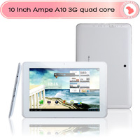 "10 Inch Ampe A10 quad core 3G phone tablet 10"" IPS screen Qualcomm Quad Core Android 4.1 with sim slot Bluetooth dual camera"