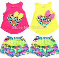 Sales promotion children set girl sets love print T-shirt/vest+ shorts/pant summer clothing kids girl 2-6yrs sports suit set