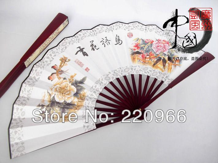 Free Shipping Folk Artistic flower and bird painting Folding Fan Hand Handmade Chinese Silk Bamboo(China (Mainland))