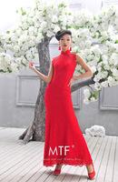 Free Shipping Q1379 Retro Sexy Red Dress Lapel Long Wedding Dress Semicircle 2013 Latest