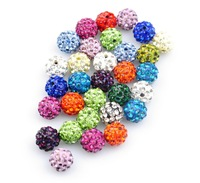 Wholesale (100pcs/lot) White Pave Disco Ball Rhinestone Crystal Shamballa Beads 8mm fit for bracelets Free Shipping