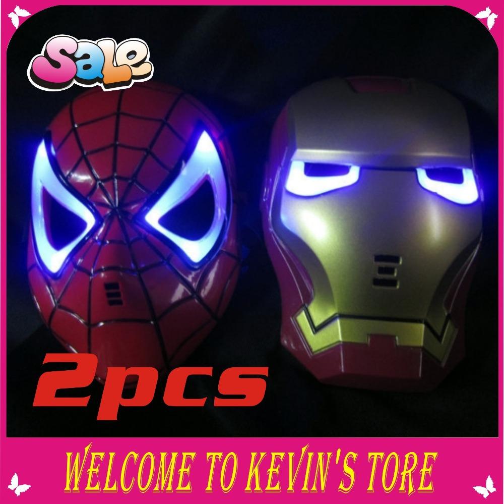 Ano novo LED Glowing homem de ferro & aranha homem máscara do partido máscara do herói mascarar máscara de Halloween 2 pcs / grátis frete(China (Mainland))