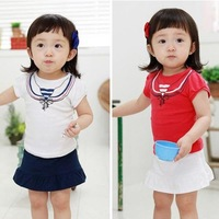 HOT SALE Free Shipping 2013 Children's Clothing Summer Small Navy Top Skirt Two-Piece Set Clothing Set Girls' Dress T-shirt Set