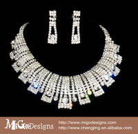 free shipping Migodesigns Luxury Fashion Crystal White Gold Clear Rhinestone Chunky Choker Necklace Set For Women