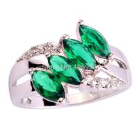 Wholesale Unisex Rings Emerald Quartz & White Topaz 925 Silver Ring Size 6 7 8 9 10 11 Charming Women JEWELRY Gift Free Shipping