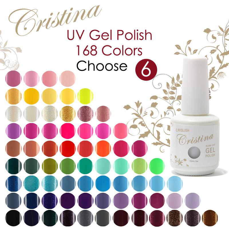Choose 6 pieces In New 168 colors Cristina UV Gel Polish 15ml 0.5oz Nail Gel Free Ship(China (Mainland))