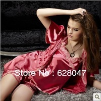 Ladies silk robe sexy silk pajamas shorts and suspenders Parure
