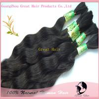 100% Natural Virgin hair Human bulk hair wave Hair 100g/pc,100gram/lot, Natural Color,16 -18inch, unprocessed hair Free Shipping