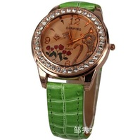 MIN-ORDER $10 free shipping crystal inset fox and rose watch face wrist watch