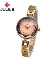 Authentic JA-624 Korea Julius Women's Wrist Watch Quartz Luxury Fashion Stainless Steel band  Cutting Diamond Face