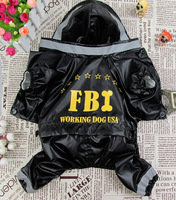 Waterproof Black FBI Pet Dog Raincoat Dog Rain Coat Jumpsuit For Teddy Chihuahuas XS S M L XL Free Shipping