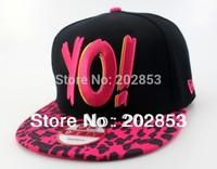 Free shipping Hot sale YO! Letter Leopard embroidery Hip Hop cap spike studded Punk dance hat  jazz baseball cap